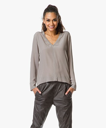 Zijden Blouse Taupe 45