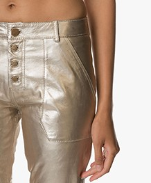 Ba&sh Metallic Leren Pantalon Yuca - Goud