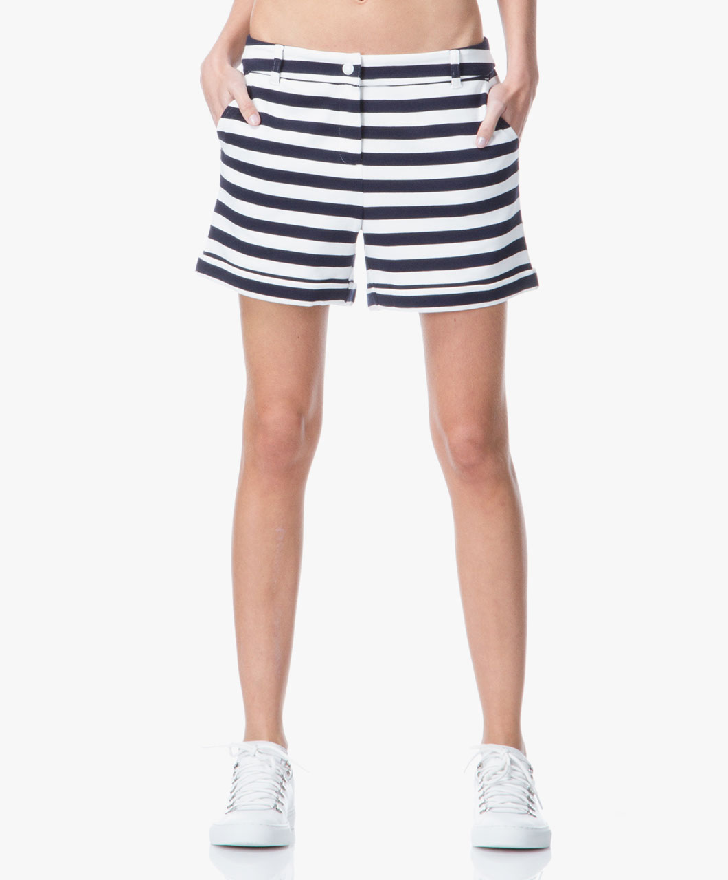 Petit Bateau Jersey Striped Shorts - Navy/White - Petit Bateau Women