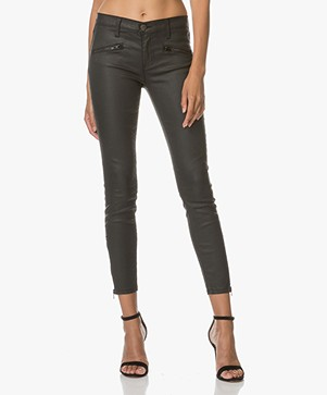 Current/Elliott The Soho Zip Stiletto Skinny Jeans - Zwart Coated