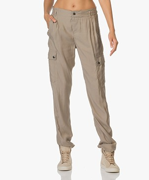 Drykorn Utility Cupro Trousers - Taupe