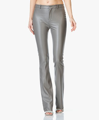 Drykorn Whip Faux Leather Flared Trousers - Greyish Green
