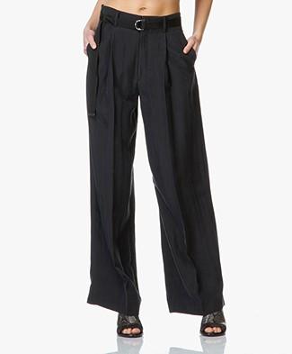 Joseph Ika Washed Silk Wide Trousers - Nearly Black
