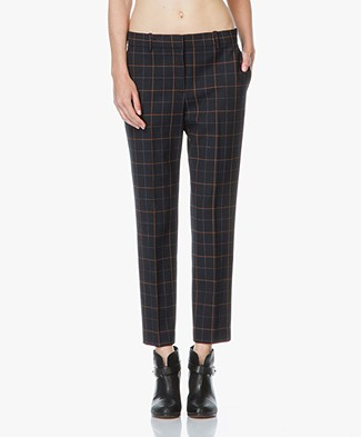 Theory Treeca Cropped Plaid Pants - Dark Navy Multi