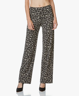 no man's land Print Pants - Black
