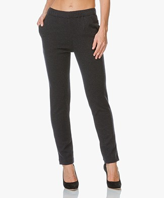 Majestic Merino Slim-fit Pants - Black Chiné/Anthracite Chiné