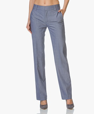 Drykorn Pants Chess in Cool Wool - Light Blue Melage
