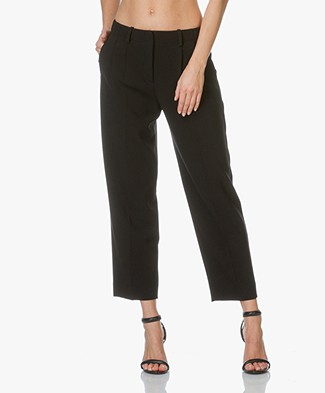 Theory Pleated Front Pants Straconi in Crepe - Black