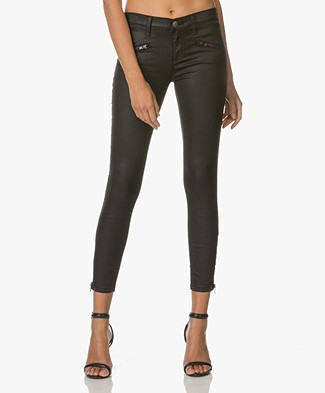 Current/Elliott The Soho Zip Stiletto Skinny Jeans - Black Coated