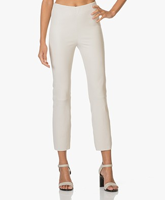 By Malene Birger Cropped Leather Pants Florentina - Linen