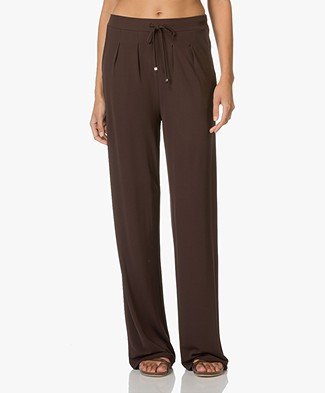 Kyra & Ko Lea Trousers with Loose-fit Legs - Chocolate