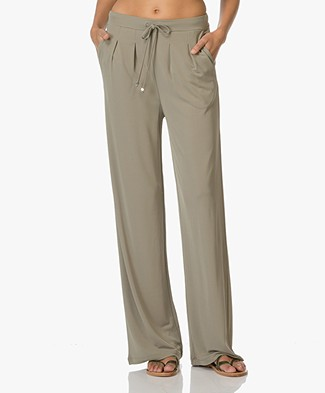 Kyra & Ko Lea Trousers with Loose-fit Legs - Green