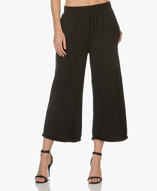 T by Alexander Wang French Terry Cropped Sweatpants - Black