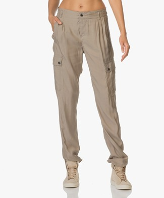 Drykorn Utility Cupro Broek - Taupe