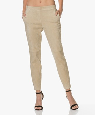 Theory Thaniel Suede Pants - Light Beige