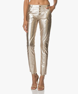 Ba&sh Metallic Leather Pants Yuca - Gold