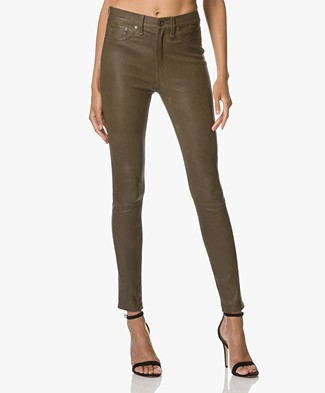Rag & Bone / Jean High Rise Skinny Leather Pants - Olive