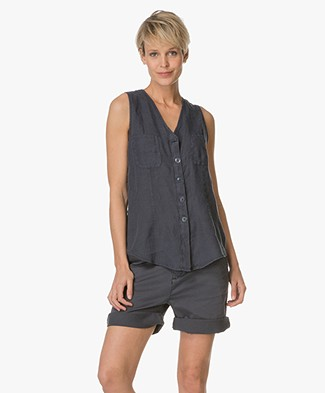 no man's land Sleeveless Blouse in Linen - Peacock