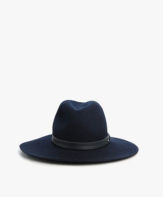 Rag & Bone Extra Wide Brim Fedora Hat - Navy