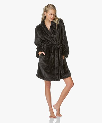 Calvin Klein Plush Robe - Black