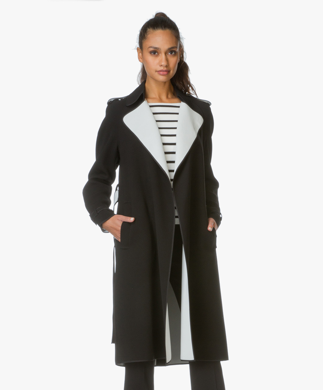 Theory trenchcoat laurelwood in cr pe black classic for Laurel wood