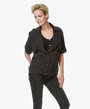 Frame Le Oversized Cotton Jacket - Black