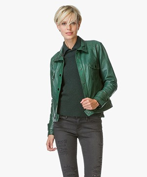 Frame Le Crop Leather Jacket - Spruce