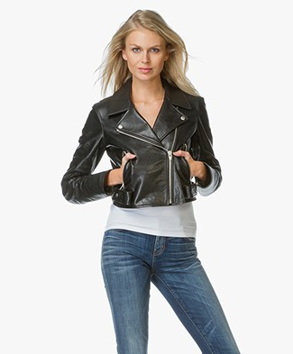 T by Alexander Wang Classic Leather Biker Jacket - Black