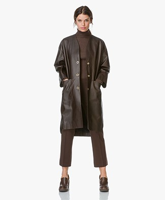 Filippa K Alicia Leather Coat - Dark Chocolate
