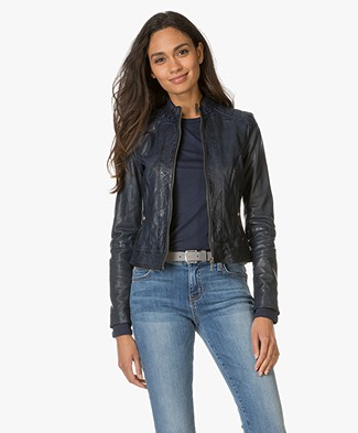 BOSS Orange Janabelle Leather Jacket - Dark Blue