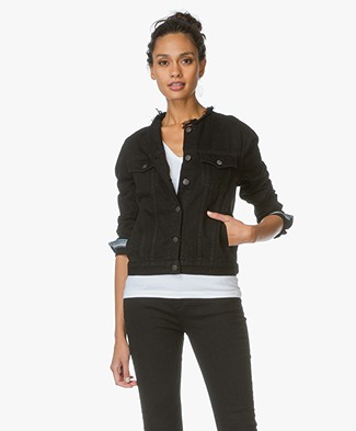 Rag & Bone / Jean Collarless Denim Jacket - Black Bucquet