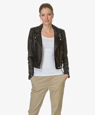 IRO Ashville Leather Biker Jacket - Black
