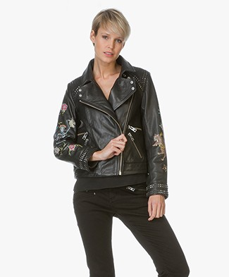 Zadig et Voltaire Leather Jacket Kawai Tattoo - Black