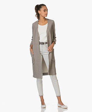 Kyra & Ko Long Jacket Alice in Jacquard - Grey/White