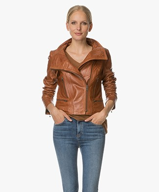 Drykorn Mold Leather Jacket - Rust