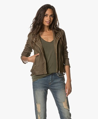 IRO Han Leather Biker Jacket - Dark Khaki