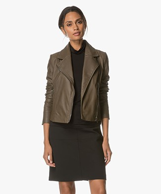 Drykorn Ceylon Leather Biker Jacket - Khaki