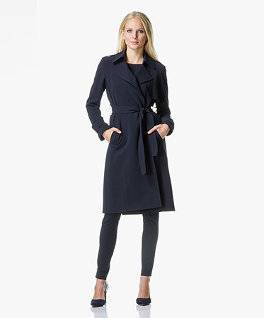 Theory - Theory Oaklane Trenchcoat in Admiral Crêpe - Deep Navy