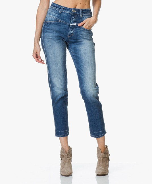 Closed Pedal Pusher Washed Down Jeans - Blue