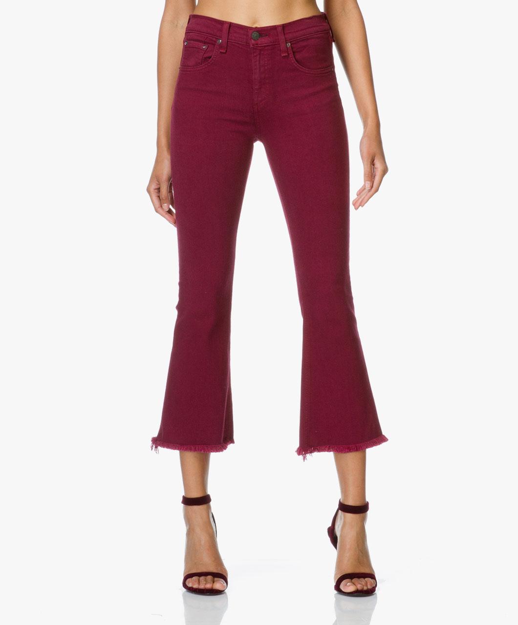 rag bone jean cropped flare jeans distressed plum crop flare w15940545dpl distressed plum. Black Bedroom Furniture Sets. Home Design Ideas