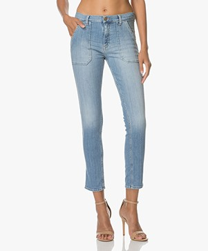 ba&sh Sally Girlfriend Jeans - Light Used Blue