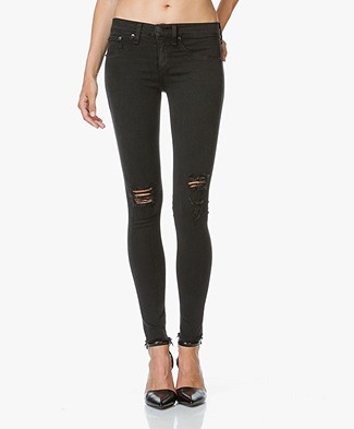 Rag & Bone / Jean Distressed Skinny Jeans - Night with Holes
