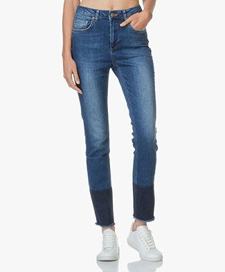 Anine Bing Jeans with Hem Detail - Blue