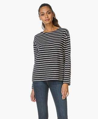 Closed Striped Top with Jersey Details - Navy/Ecru