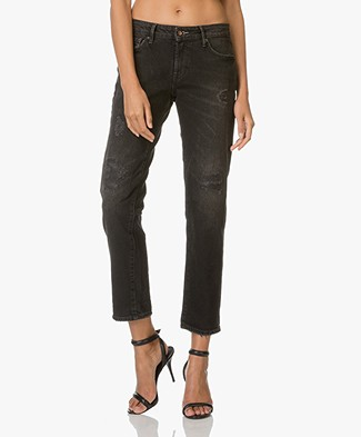 Denham Girlfriend Fit Jeans Monroe - Black Destroyed