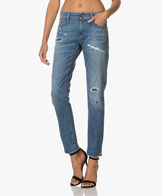 Denham Girlfriend Fit Jeans Monroe - Blue Destroyed