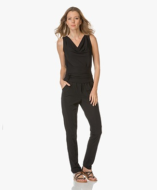 no man's land Stretch-Crêpe Jumpsuit - Zwart