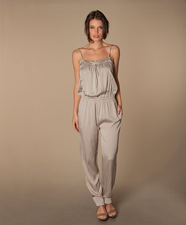 Repeat - Repeat Silk Jumpsuit - Cement Grey