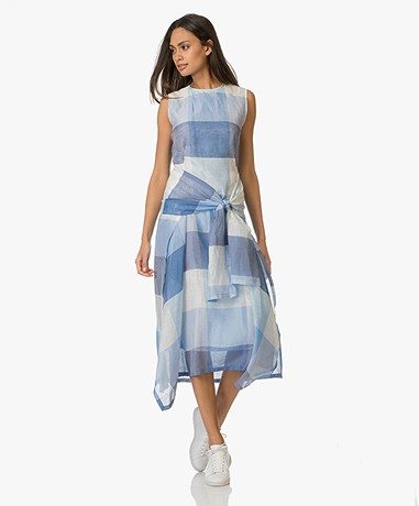 Sportmax Filo Sleeveless Sslk-linen Dress  - Blue