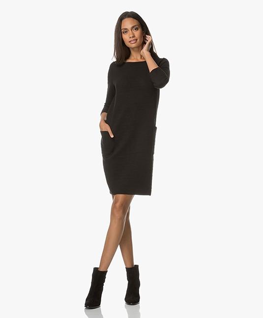 Kyra & Ko Mirva Ribbed Jersey Dress - Black